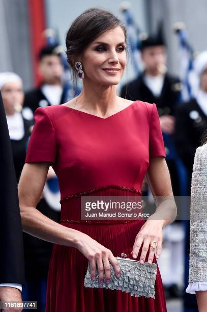 Queen Letizia of Spain arrives to the Campoamor Theatre ahead of the 'Princesa de Asturias' Awards Ceremony 2019 on October 18 2019 in Oviedo Spain