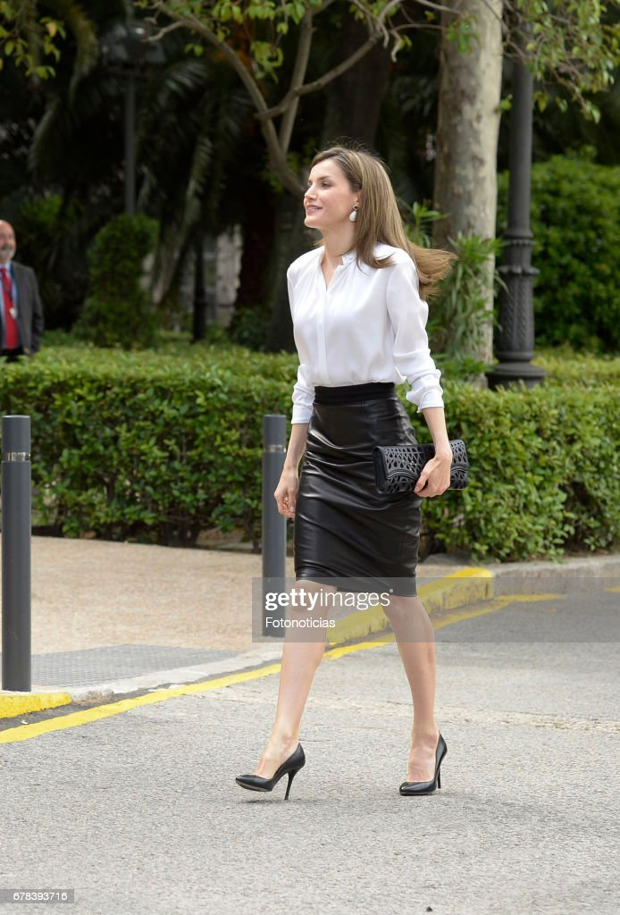 Queen Letizia of Spain arrives to the National Library on May 4, 2017 in Madrid, Spain.