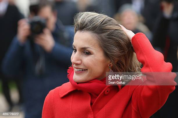 Queen Letizia of Spain arrives with her husband King Felipe VI at Schloss Bellevue presidential palace on December 1, 2014 in Berlin, Germany. King...