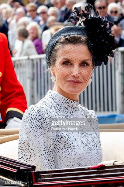 Queen Letizia of Spain at St George's Chapel on June 17 2019 in Windsor England