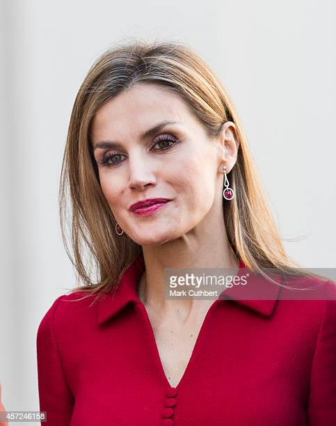 Queen Letizia of Spain at The Noordeinde Palace on October 15, 2014 in The Hague, Netherlands.
