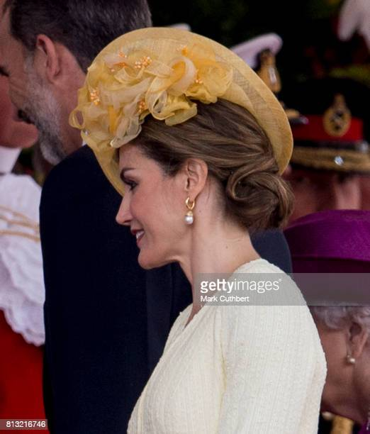 Queen Letizia of Spain at the official welcome ceremony on Horseguards Parade during a State visit by the King and Queen of Spain on July 12 2017 in...