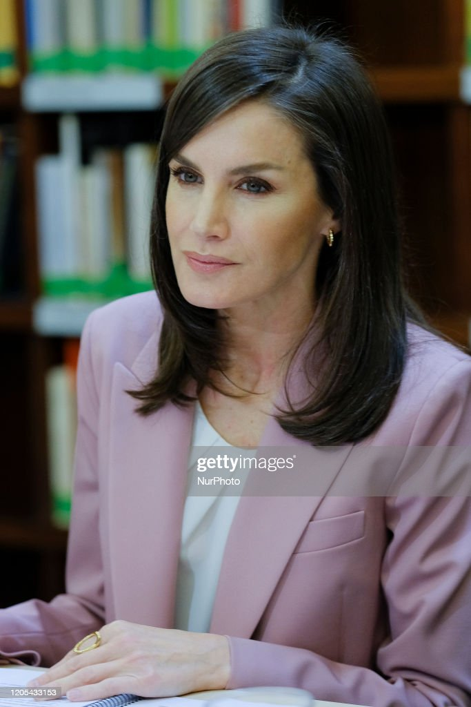 Queen Letizia Attends A Meeting With APRAMP : News Photo