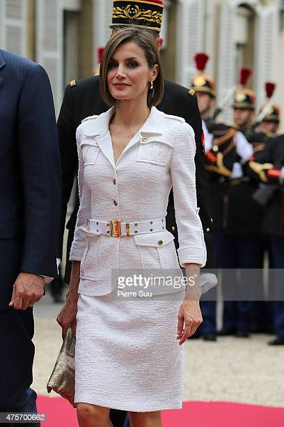 Queen Letizia of Spain attend a reception hosted by french senate president Gerard Larcher at the senate during The official visit in France of King...