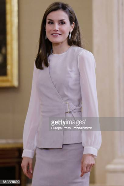 Queen Letizia of Spain attend audicences at Zarzuela Palace on May 12 2017 in Madrid Spain
