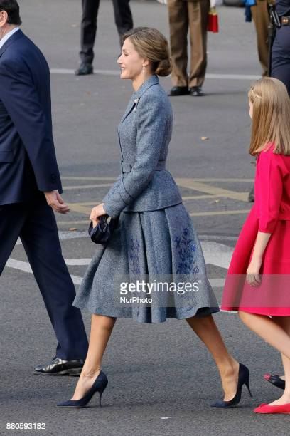 Queen Letizia of Spain attend the National Day Military Parade 2017 on October 12 2017 in Madrid Spain