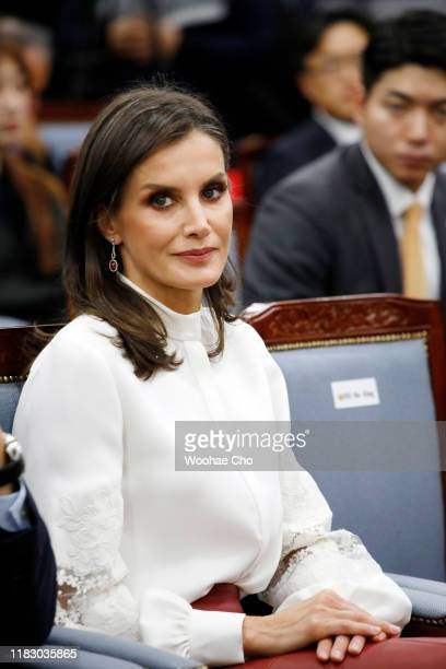 Queen Letizia of Spain attends a ceremonial event appointing Their Majesties The King and Queen of Spain as honorary citizens of the city of Seoul in...