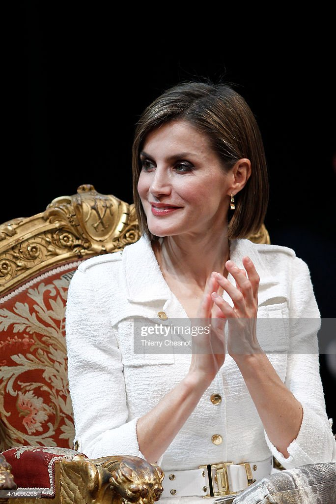 Queen Letizia of Spain attends a ceremony at Hotel de Ville (Town Hall) on 03 June 2015 in Paris, France. Felipe VI of Spain and Queen Letizia of Spain are on a three-day visit in France. Originally scheduled for March 24, this visit had to be suspended after Germanwings flight 9525 crashed in the French Alps.