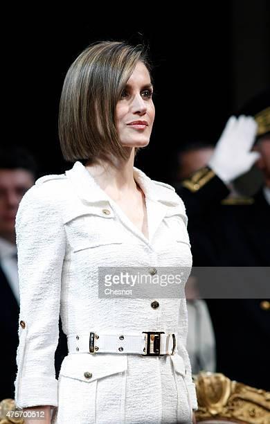 Queen Letizia of Spain attends a ceremony at Hotel de Ville on 03 June 2015 in Paris France Felipe VI of Spain and Queen Letizia of Spain are on a...