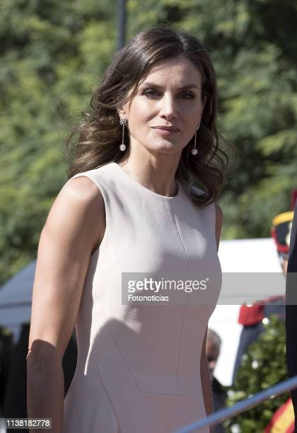 Queen Letizia of Spain attends a ceremony honouring Argentina's National Hero Jose de San Martin during day one of the official visit of the Spanish...