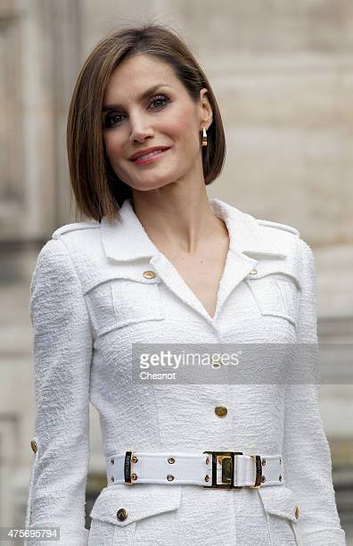 Queen Letizia of Spain attends a ceremony inaugurating the 'Combattants de la Nueve' parc at Hotel de Ville on 03 June 2015 in Paris France Felipe VI...