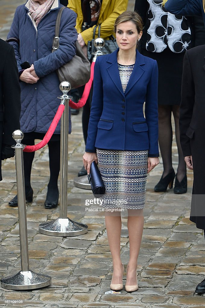 Queen Letizia of Spain attends a cermony in the courtyard of the Invalides as part of a three day official visit to France on March 24, 2015 in Paris, France.