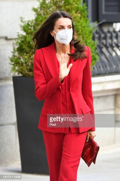 Queen Letizia of Spain attends a Clara Campoamor Tribute at Congress on April 12, 2021 in Madrid, Spain.