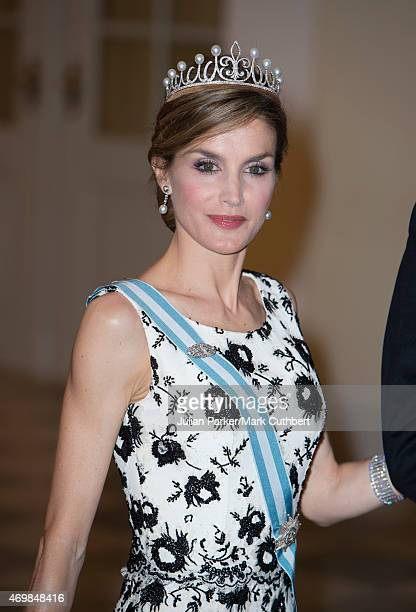 Queen Letizia of Spain attends a gala dinner at Christiansborg Palace on the eve of the 75th Birthday of Queen Margrethe II of Denmark on April 15,...