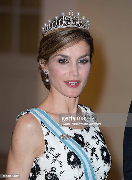 Queen Letizia of Spain attends a gala dinner at Christiansborg Palace on the eve of the 75th Birthday of Queen Margrethe II of Denmark on April 15...