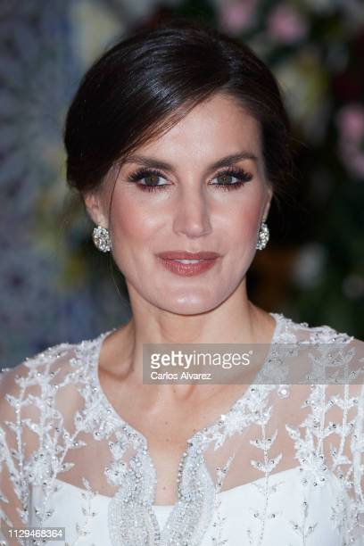 Queen Letizia of Spain attends a Gala dinner at the Royal Palace on February 13, 2019 in Rabat, Morocco. The Spanish Royals are on a two day visit to...