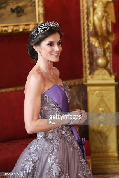 Queen Letizia of Spain attends a Gala Dinner in honour of Peruvian President Martin Alberto Vizcarra and wife at the Royal Palace on February 27 2019...