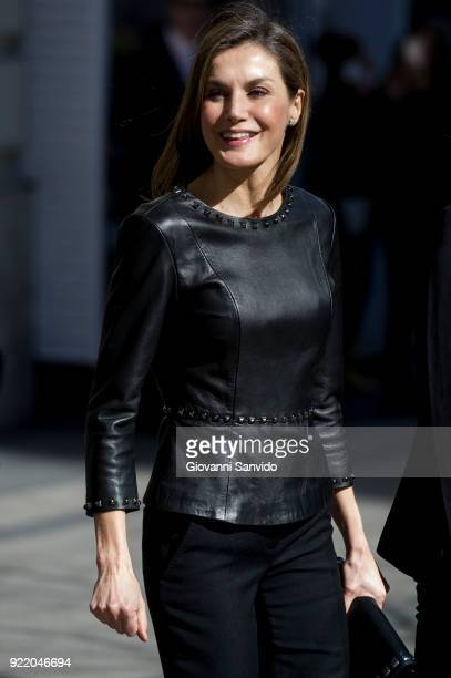 Queen Letizia of Spain attends a gender violence meeting at Government Delegation for Gender Violence on February 21 2018 in Madrid Spain
