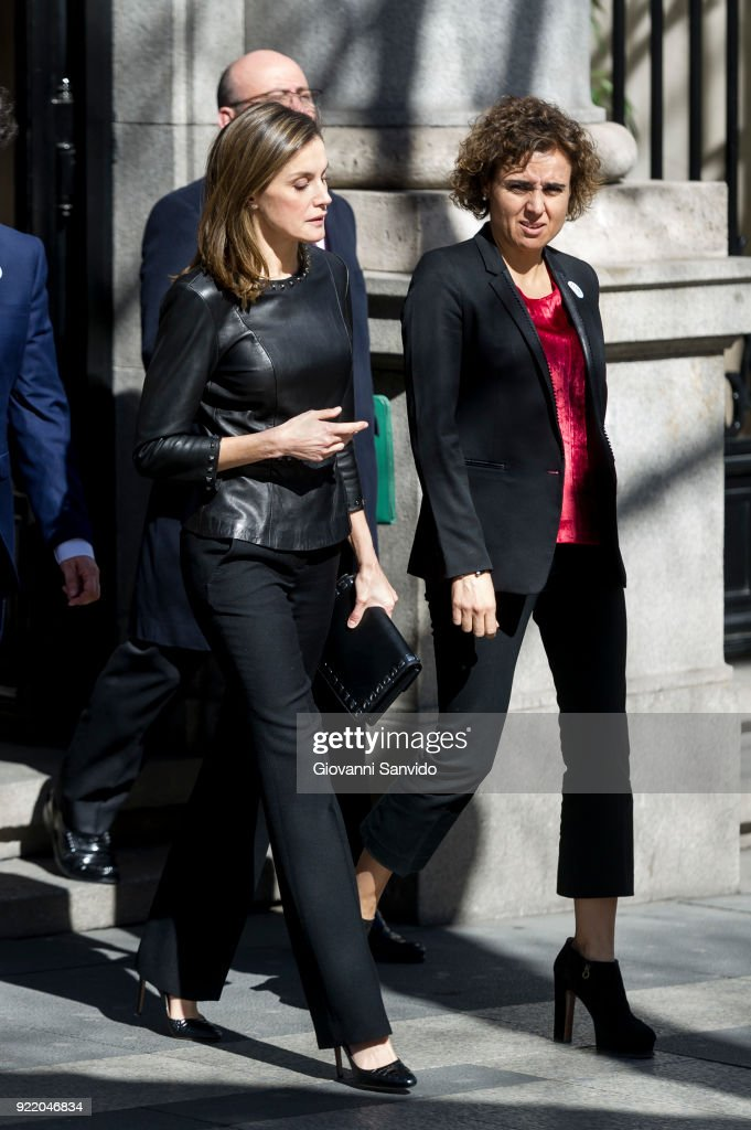 Queen Letizia of Spain attends a gender violence meeting at Government Delegation for Gender Violence on February 21, 2018 in Madrid, Spain.