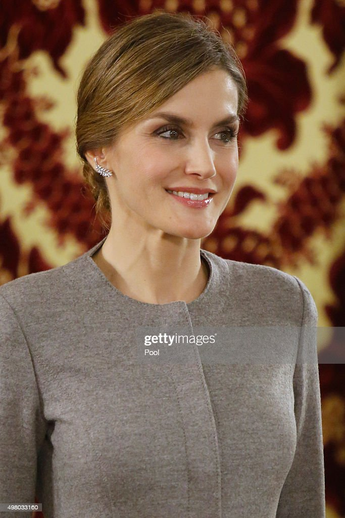 Queen Letizia of Spain attends a lunch at the Royal Palace on November 20, 2015 in Madrid, Spain.
