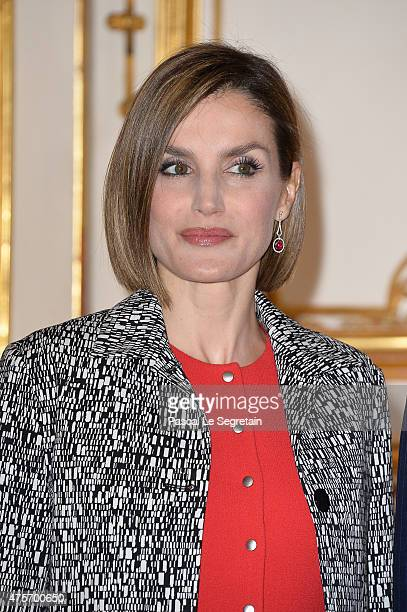 Queen Letizia of Spain attends a lunch hosted by French Prime Minister at the Hotel Matignon on June 3 2015 in Paris France