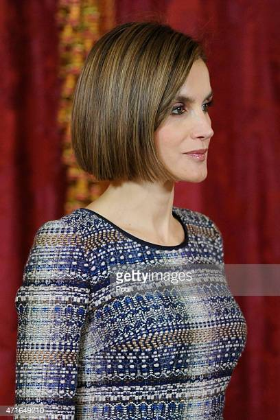 Queen Letizia of Spain attends a lunch in honour of Egyptian President Abdel Fattah alSisi at the Royal Palace on April 30 2015 in Madrid Spain