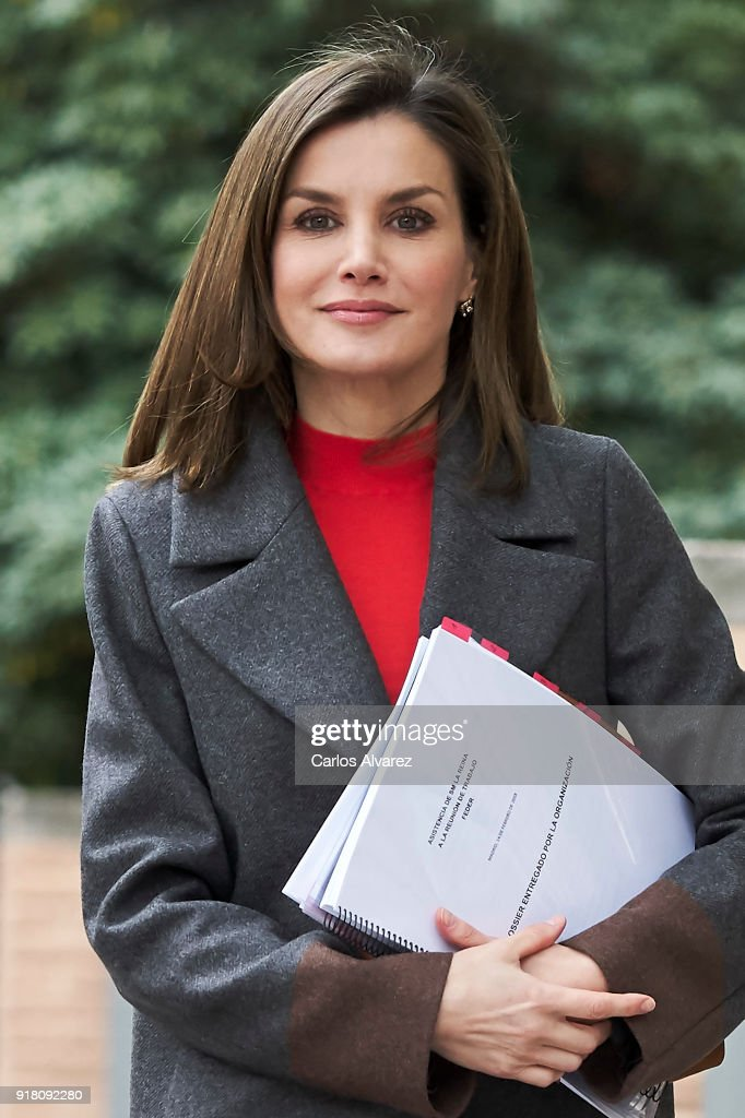 Queen Letizia of Spain attends a meeting at FEDER (Spanish Federation for Rare Diseases) on February 14, 2018 in Madrid, Spain.