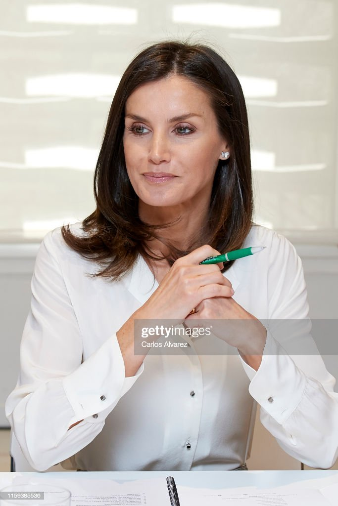 Queen Letizia Attends A Meeting At The AECC : News Photo