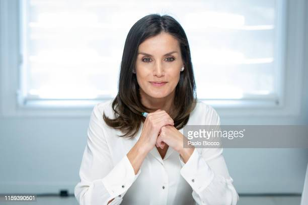 Queen Letizia of Spain attends a meeting at the AECC on July 01, 2019 in Madrid, Spain.