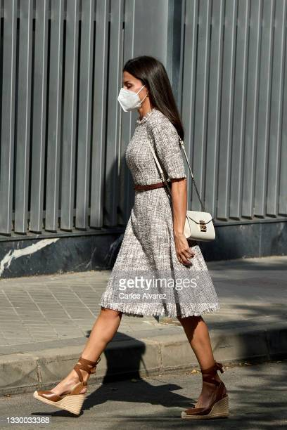Queen Letizia of Spain attends a meeting at the AECC on July 22, 2021 in Madrid, Spain.