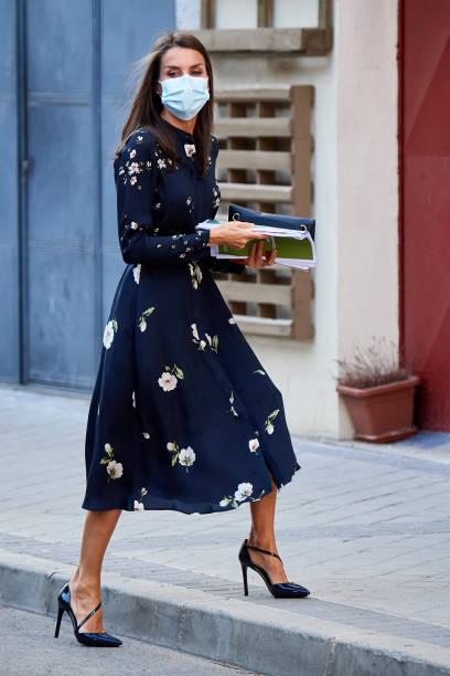 ESP: Queen Letizia Arrives At AECC Headquarters