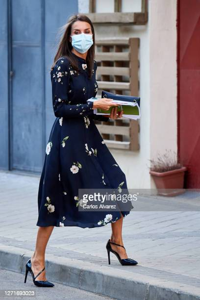 Queen Letizia of Spain attends a meeting at the AECC on September 10, 2020 in Madrid, Spain.