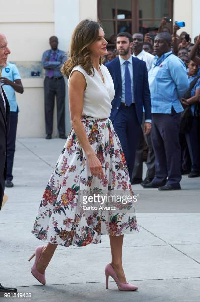 Queen Letizia of Spain attends a meeting of teachers and students of Spanish at the Alexandre Petion Liceo on May 23, 2018 in Port-au-Prince, Haiti....