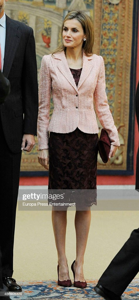 Spanish Royals Attend a Meeting With Cervantes Institute Team : News Photo