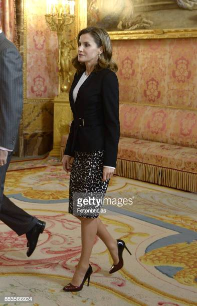 Queen Letizia of Spain attends a meeting with 'Princesa de Girona' Foundation members at the Royal Palace on December 1 2017 in Madrid Spain