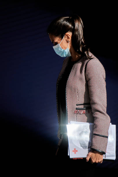 ESP: Queen Letizia Of Spain Attends A Meeting With Red Cross Spain