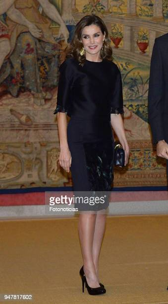 Queen Letizia of Spain attends a reception at El Pardo Palace on April 17 2018 in Madrid Spain