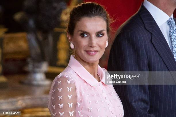 Queen Letizia of Spain attends a reception at the Royal Palace during the National Day on October 12 2019 in Madrid Spain