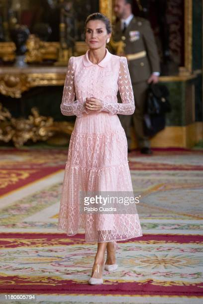 Queen Letizia of Spain attends a reception at the Royal Palace during the National Day on October 12, 2019 in Madrid, Spain.