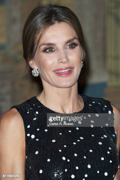 Queen Letizia of Spain attends a reception in her honor offered by Israeli President Reuven Rivlin at El Pardo Palace on November 7 2017 in Madrid...