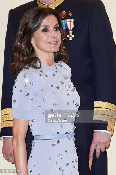 Queen Letizia of Spain attends a reception offered by Peruvian president Martin Alberto Vizcarra in honour of King Felipe VI of Spain and Queen...