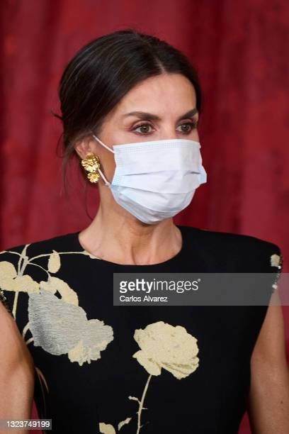 Queen Letizia of Spain attends a State Dinner honouring Korean President at the Royal Palace on June 15, 2021 in Madrid, Spain.