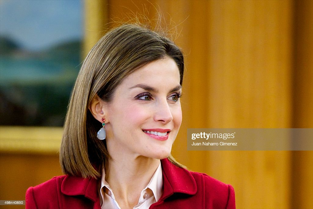 Queen Letizia of Spain Attend Audiences at Zarzuela Palace : News Photo