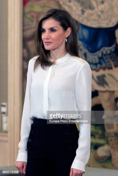 Queen Letizia of Spain attends an audience at Zarzuela Palace on March 28 2017 in Madrid Spain