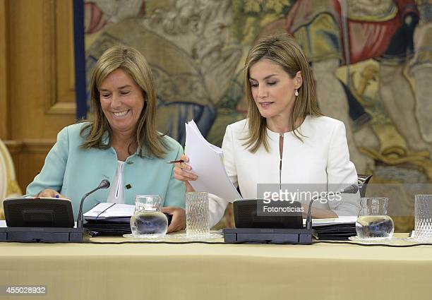 Queen Letizia of Spain attends an audience with Minister Ana Mato at Zarzuela Palace on September 9 2014 in Madrid Spain