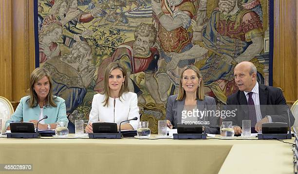 Queen Letizia of Spain attends an audience with Minister Ana Mato Minister Ana Pastor and Minister Jose Ignacio Wert at Zarzuela Palace on September...