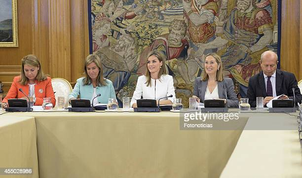 Queen Letizia of Spain attends an audience with Susana Camarero Minister Ana Mato Minister Ana Pastor and Minister Jose Ignacio Wert at Zarzuela...
