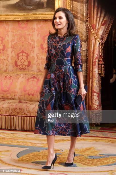 Queen Letizia of Spain attends an official lunch for 'Miguel de Cervantes 2018' Literature award at the Royal Palace on April 24 2019 in Madrid Spain
