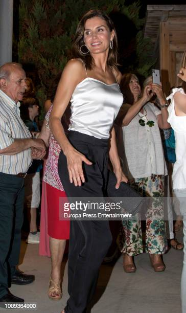 Queen Letizia of Spain attends Ara Malikian's concert at Port Adriano on August 1 2018 in Palma de Mallorca Spain