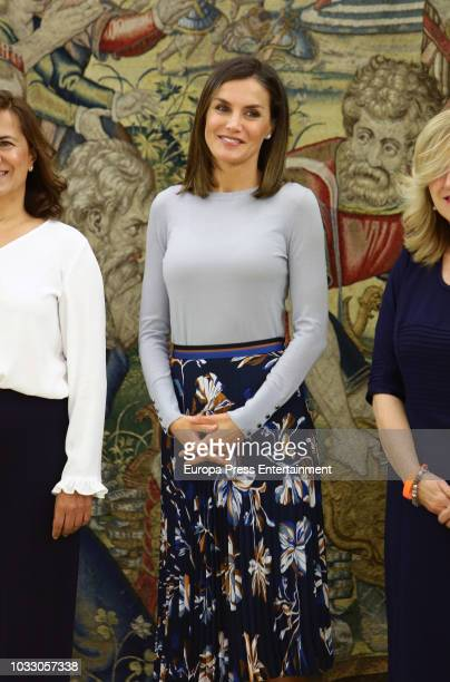 Queen Letizia of Spain attends audiences at Zarzuela Palace at Zarzuela Palace on September 14 2018 in Madrid Spain